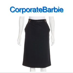 $348 Leather Accented Tory Burch Wool Pencil Skirt